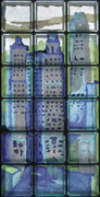 skyscraper image into glass blocks