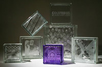 sizes of glass blocks with etchings