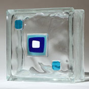 blue color glass tiles on a glass block in an obscure pattern