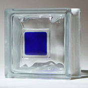 blue glass tile on glass block