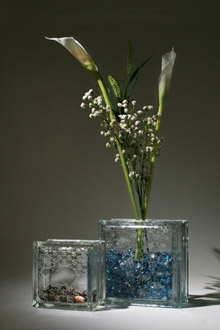 glass block bank and vase