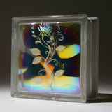 dichroic glass block with a flower design