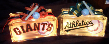 baseball themed gift glass blocks