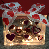 valentine themed glass block completed by a crafter