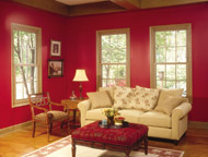 wood grain double hung windows in a family room in cleveland