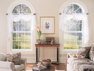 double hung and half round windows in a living room in akron ohio