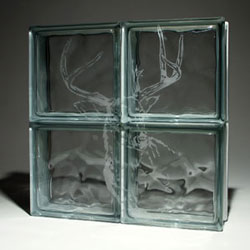 Deer Head Etched Glass Block