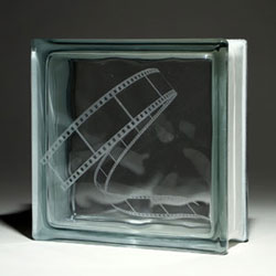 Movie Mural Etched Glass Block