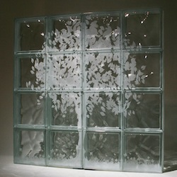 Tree Mural Etched Glass Block