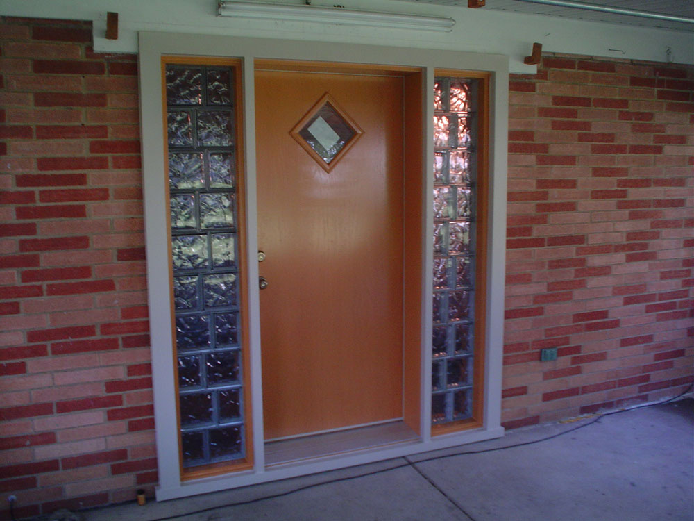 Bournes Fiberglass Entry Door With Glass Block Sidelights