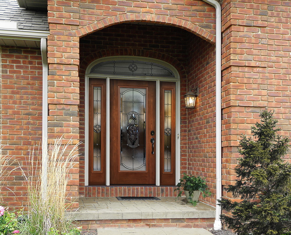 Fiberglass front entry door doors cleveland columbus for Types of wood doors are made of