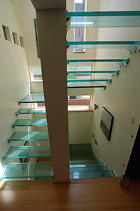 Glass stairs, no risers