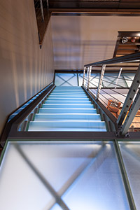 Glass stairs and landing