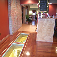 Glass floor in a retail environment