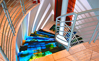 Contemporary cast art glass stair treads