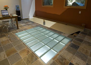 structural glass floor with frosted glass in a home