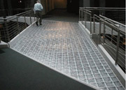 glass block floor and deck system in a mall
