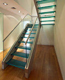 glass staircase and stair treads