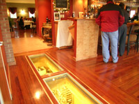 restaurant structural glass floor with a wine cellar underneath
