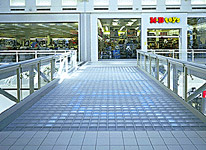 glass block pavers and deck in a mall