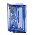 blue 90 degree angle glass block