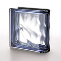 blue metalized finished end glass block