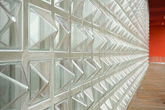 "Textured glass block ""Pyramid"" shape for a dramatic wall style"