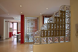 step down glass block partition wall