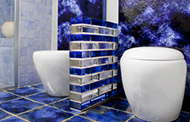 blue solid glass brick separator wall in a bathroom