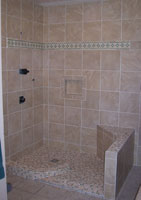 tiled over corner seat 18 x 20 size