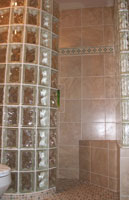 rounded glass block shower walls