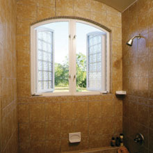 casement style shower windows for privacy