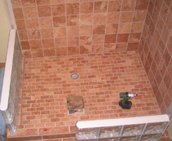 in process glass block shower wall installation