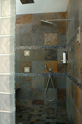 frosted glass block shower wall in Cleveland Ohio with large 12 x 12 tiles