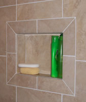 niche in a shower completed with tile