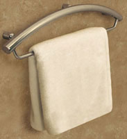 chrome decorator grab bar and towel bar combination