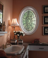 oval decorative window in a bathroom
