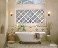 diamond grids in a bath window