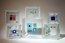 Fused art glass tile blocks