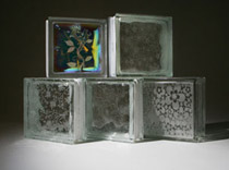 Etched glass blocks for windows or walls