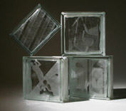 assorted etched glass block with a sports theme