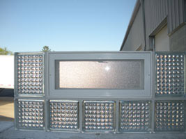Prefabricated glass block window ready for shipment