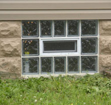Privacy basement window with glass blocks