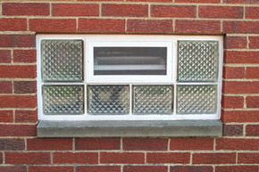 glass block basement window with a diamond pattern