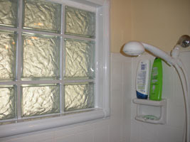 glass block bathroom window with vinyl trim for low maintenance