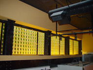 yellow color glass blocks in a factory