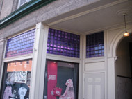 transom windows at bookstore in athens ohio using colored glass blocks