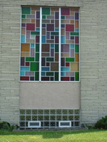 basement windows in a church in columbus using glass blocks and air vents