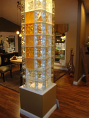 decorative glass block column in a home in cleveland ohio
