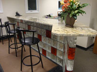 sales counter in cleveland ohio made of glass blocks and a granite countertop